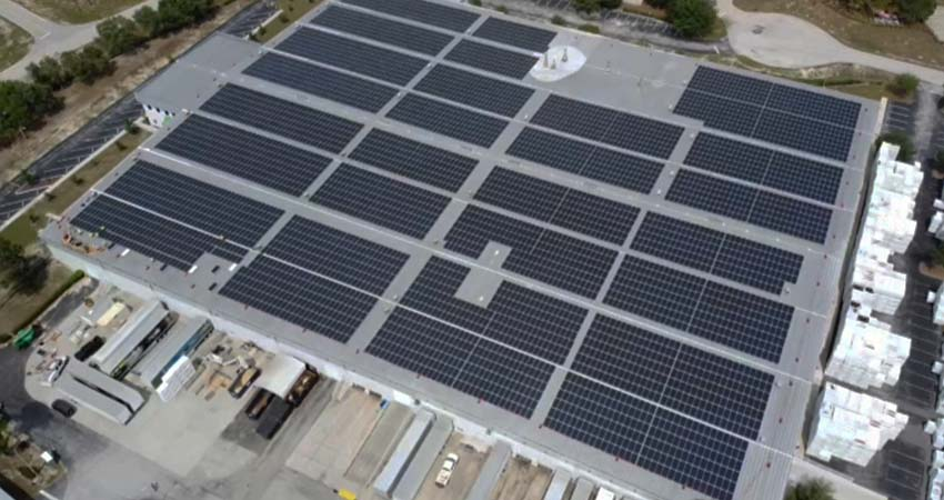 barrette outdoor living largest solar roof in florida